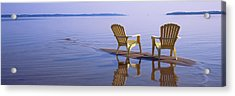 Reflection Of Two Adirondack Chairs Acrylic Print by Panoramic Images