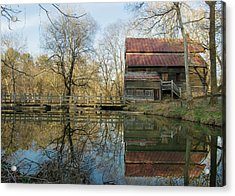 Reflection On A Grist Mill Acrylic Print by George Randy Bass