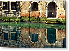 Reflection On Canal In Venice Acrylic Print by Michael Henderson