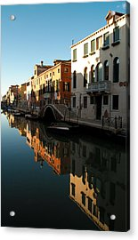 Reflection On The Cannaregio Canal In Venice Acrylic Print by Michael Henderson