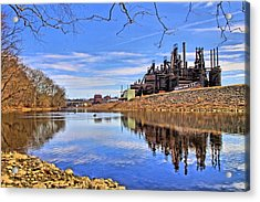 Reflection On The Lehigh - Bethlehem Pa Acrylic Print