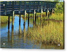 Reflections And Sea Grass Acrylic Print by Roena King