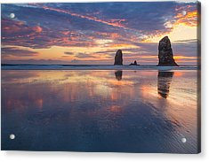 Reflections At Cannon Beach Acrylic Print
