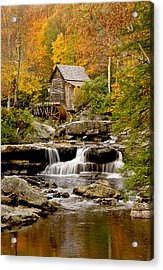 Reflections At The Glade Creek Grist Mill Acrylic Print by Gordon Ripley