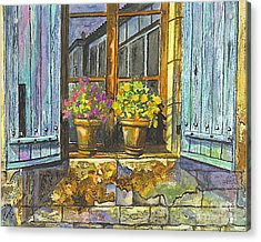 Acrylic Print featuring the painting Reflections In A Window by Carol Wisniewski