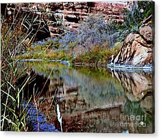Reflections In Desert River Canyon Acrylic Print by Annie Gibbons