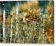 Acrylic Print featuring the photograph Reflections In Teal by Ann Bridges