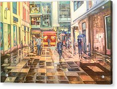 Reflections In The Pavement, Brown Street, Manchester Acrylic Print
