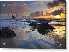 Reflections In The Sand Acrylic Print by Mike  Dawson