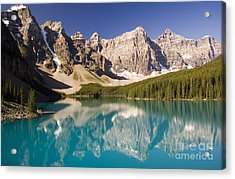 Reflections Of Moraine Lake Acrylic Print by Andrew Serff