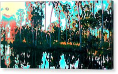 Acrylic Print featuring the painting Reflections Of Palms Gulf Coast Florida by G Linsenmayer