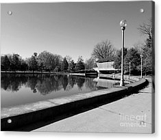 Reflections Of Round Lake - Black And White Acrylic Print