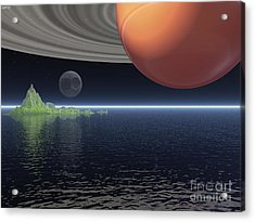 Acrylic Print featuring the digital art Reflections Of Saturn by Phil Perkins