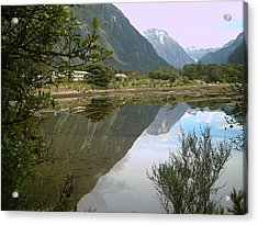 Reflections  Of The Mountings Acrylic Print by Joyce Woodhouse