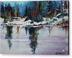 Reflections On A Frozen Pond Acrylic Print by Wilfred McOstrich