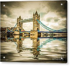 Reflections On Tower Bridge Acrylic Print by TK Goforth