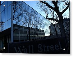 Reflections On Wall Street Acrylic Print by Lois Lepisto