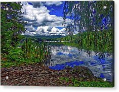 Acrylic Print featuring the painting Reflective Lake by Joan Reese