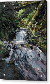 Acrylic Print featuring the painting Refreshed - Rainforest Waterfall Impressionistic Painting by Karen Whitworth