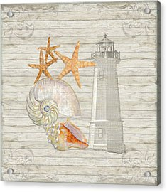 Refreshing Shores - Lighthouse Starfish Nautilus N Conch Over Driftwood Background Acrylic Print