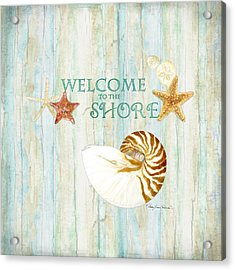 Refreshing Shores - Lighthouse Starfish Nautilus Sand Dollars Over Driftwood Background Acrylic Print by Audrey Jeanne Roberts