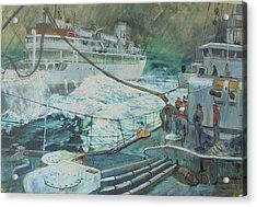 Acrylic Print featuring the painting Refuelling At Sea. by Mike Jeffries