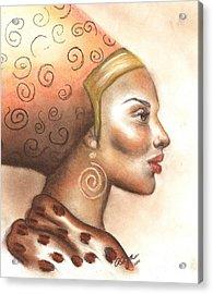 Acrylic Print featuring the pastel Regal Lady Profile by Alga Washington