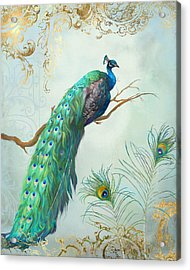 Regal Peacock 1 On Tree Branch W Feathers Gold Leaf Acrylic Print by Audrey Jeanne Roberts