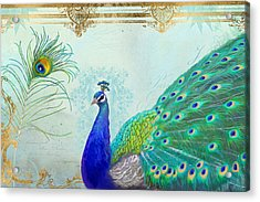 Regal Peacock 2 W Feather N Gold Leaf French Style Acrylic Print