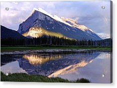 Mount Rundle Acrylic Print by Heather Vopni