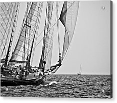 Regatta Heroes In A Calm Mediterranean Sea In Black And White Acrylic Print