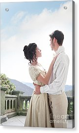 Regency Couple Embracing On The Terrace Acrylic Print