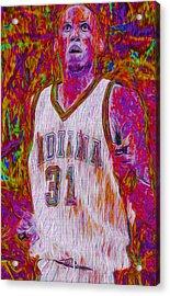 Reggie Miller Nba Basketball Indiana Pacers Painted Digitally Acrylic Print by David Haskett