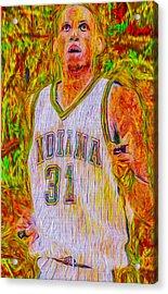 Reggie Miller Nba Indiana Pacers Basketball Digitally Painted Acrylic Print by David Haskett