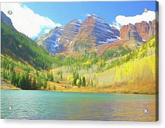 Acrylic Print featuring the photograph The Maroon Bells Reimagined 1 by Eric Glaser