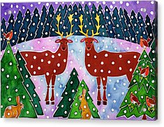 Reindeer And Rabbits Acrylic Print by Cathy Baxter