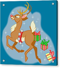Reindeer Gifts Acrylic Print by J L Meadows