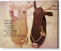 Reindeer Joys Quote Acrylic Print by JAMART Photography