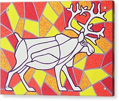 Reindeer On Stained Glass  Acrylic Print by Pat Scott