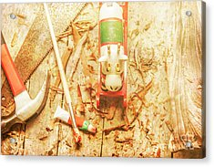 Reindeer With Tools And Wood Shavings Acrylic Print by Jorgo Photography - Wall Art Gallery