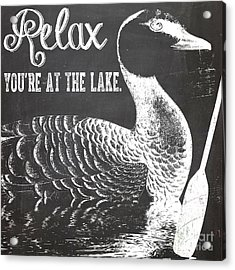 Relax Lake House Duck Sign Acrylic Print by Mindy Sommers