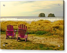 Relaxing At Rockaway Beach And Twin Rocks Acrylic Print by Margaret Hood