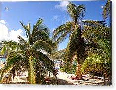 Relaxing On The Beach. Pinel Island Saint Martin Caribbean Acrylic Print