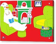 Acrylic Print featuring the digital art Relaxing Snowman by Barbara Moignard