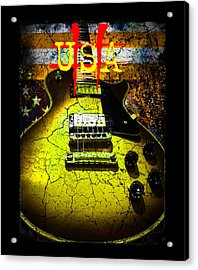 Acrylic Print featuring the photograph Relic Guitar Music Patriotic Usa Flag by Guitar Wacky