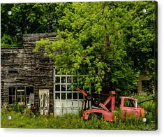Remains Of An Old Tow Truck And Garage Acrylic Print by Ken Morris