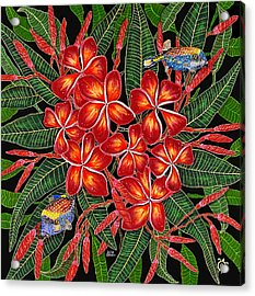 Acrylic Print featuring the painting Tropical Fish Plumerias by Debbie Chamberlin