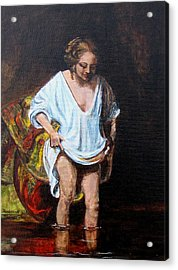 Rembrandts Woman Bathing Acrylic Print by Pauline Ross