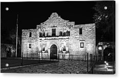 Remembering The Alamo - Black And White Acrylic Print by Stephen Stookey