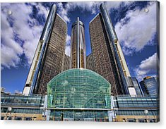 Rencen Detroit Gm Renaissance Center Acrylic Print by Gordon Dean II